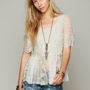 Free People Viola Embroidered Mesh Lace Blouse S